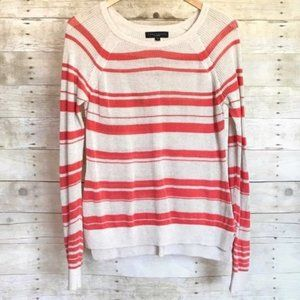 Sanctuary Ivory Coral Striped Open Knit Sweater M